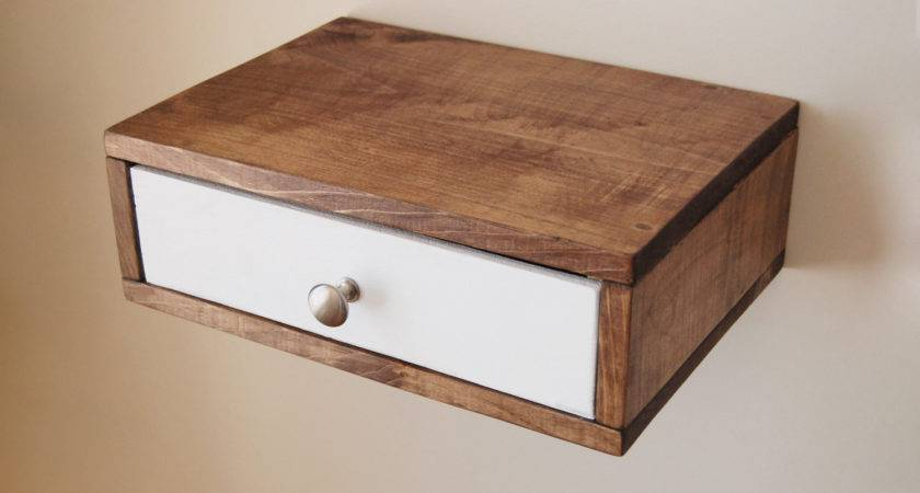 Floating Nightstand Wall Shelf Color Drawer Made