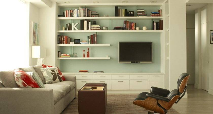 Floating Shelves Home Theater Contemporary