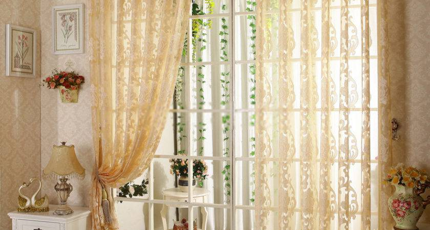 Floral Bedroom Living Room Home Light Yellow Sheer Curtain