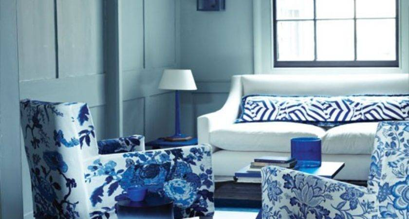 Floral Blue White Living Room Decorating