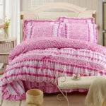 Floral Lace Bowknot Girls Bed Sets Queen