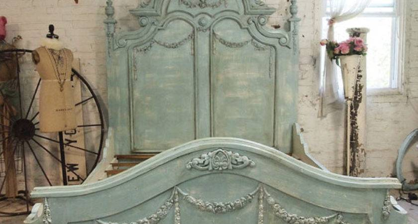 French Bed Painted Cottage Shabby Chic Aqua Romantic