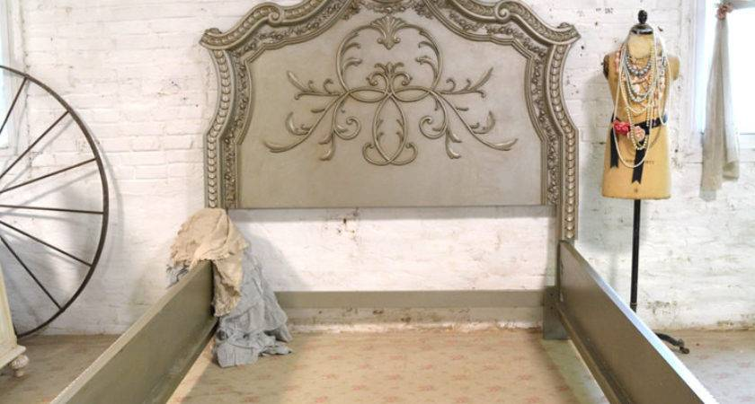 French Bed Painted Cottage Shabby Chic Queen King