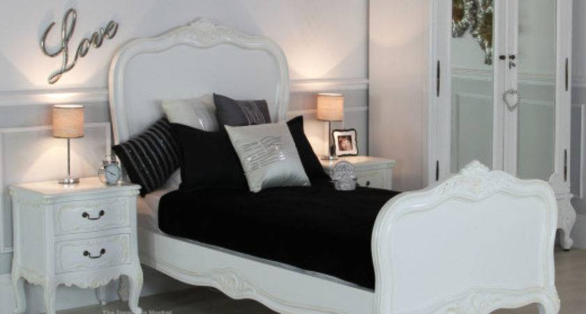 French Chateau White Single Painted Panel Bed