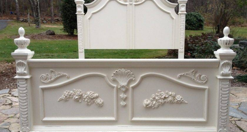 French Cottage Shabby Chic White Twin Bed
