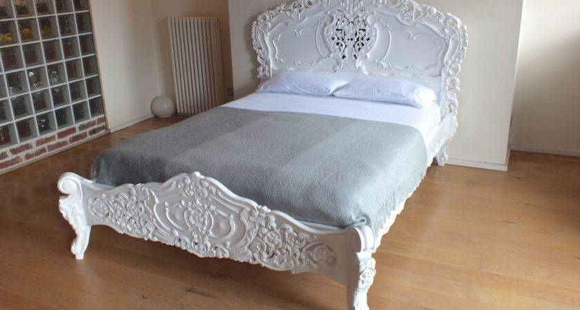 French Italian Rococo White King Bed Shabby Chic
