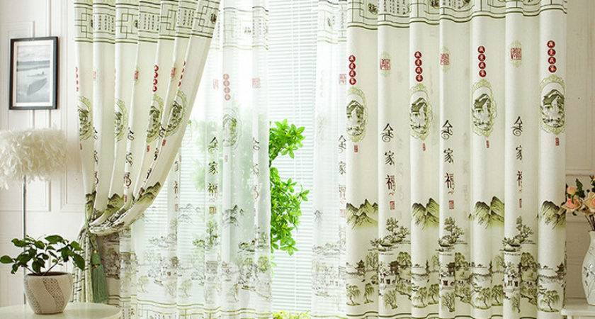 Fresh Light Green Polyester Chinese Style Decorative
