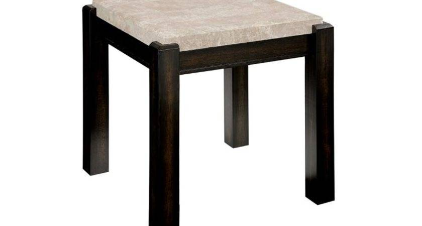 Furniture America Explenich Square Marble Top End Table