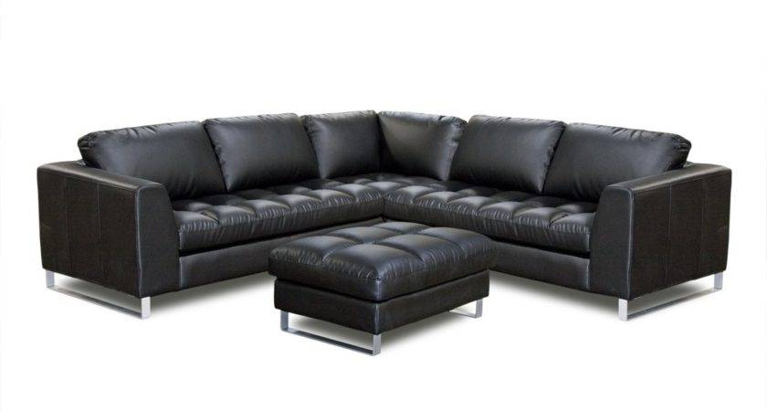 Furniture Black Leather Large Sectional Sofa Chaise