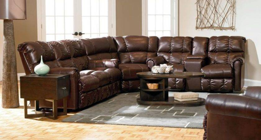 Furniture Brown Leather Reclining Sectional Sofa Arm