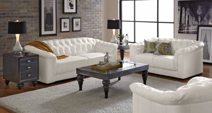 Furniture Design Ideas Perfect White Leather Living Room