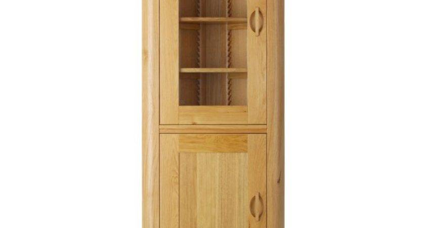 Furniture Tall Light Brown Wooden Corner Cabinets