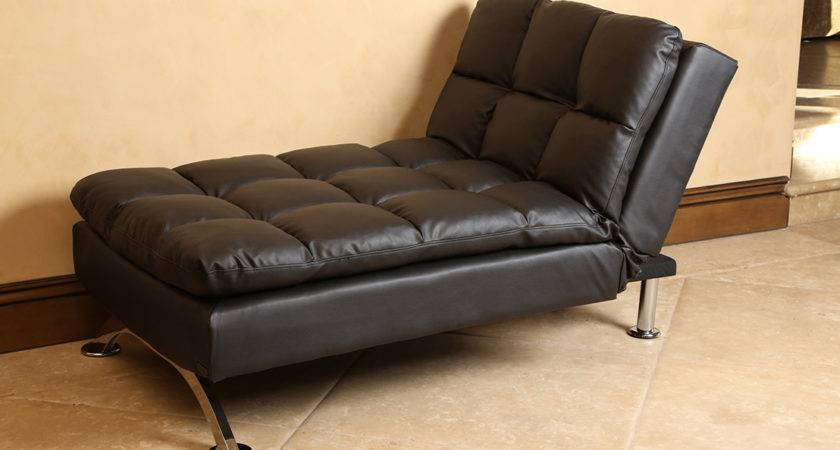 Futons Vienna Black Leather Euro Lounger Chaise