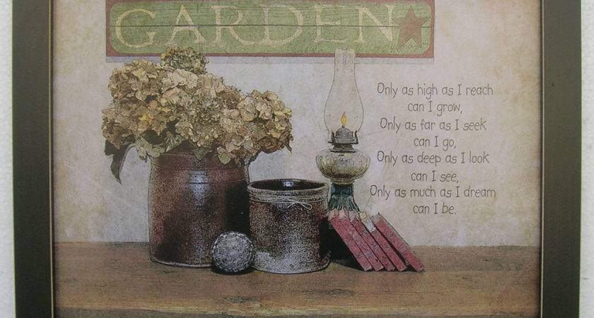 Garden Antique Oil Lamp Primitive Prints Framed