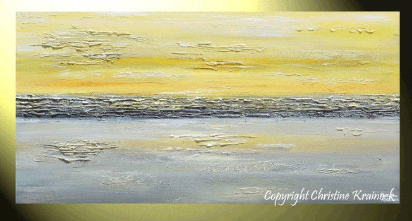Giclee Print Art Abstract Painting Yellow Grey Wall