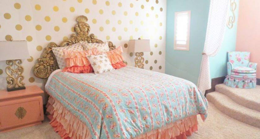 Girl Tween Room Decor Ideas Gold Pink Turquoise Amys