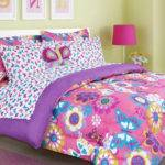 Girls Bed Set Twin Pink Purple Butterfly