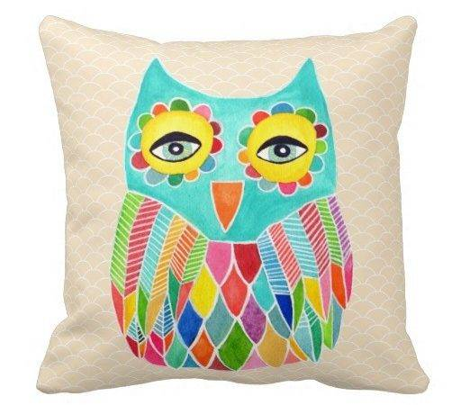 Girly Funky Modern Unique Owl Art Cushion Pillow Zazzle