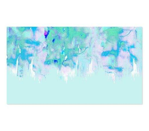 Girly Pastel Teal Blue Watercolor Paint Drips Business