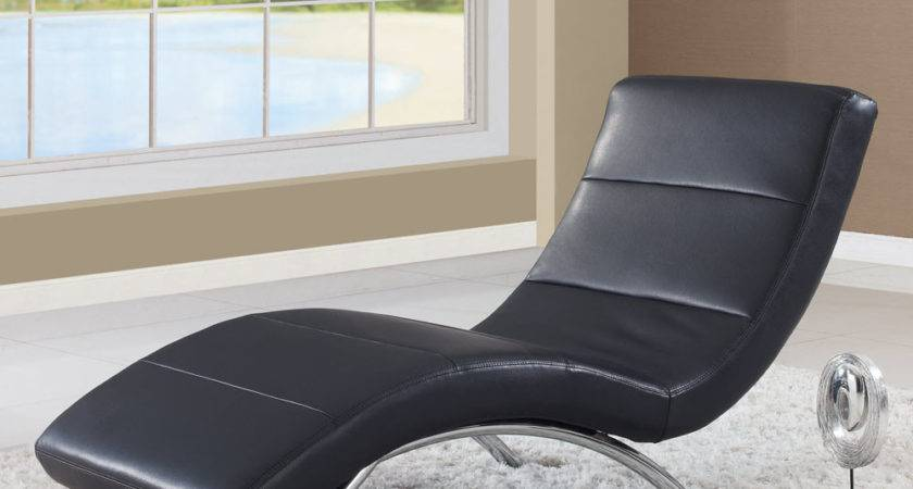 Global Leather Chaise Lounge Black Beyond Stores