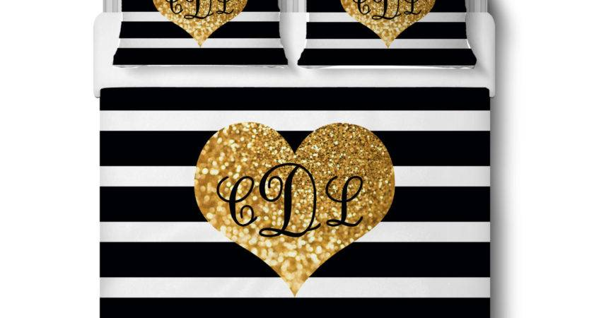 Gold Glitter Bedding Striped Personalized Comforter