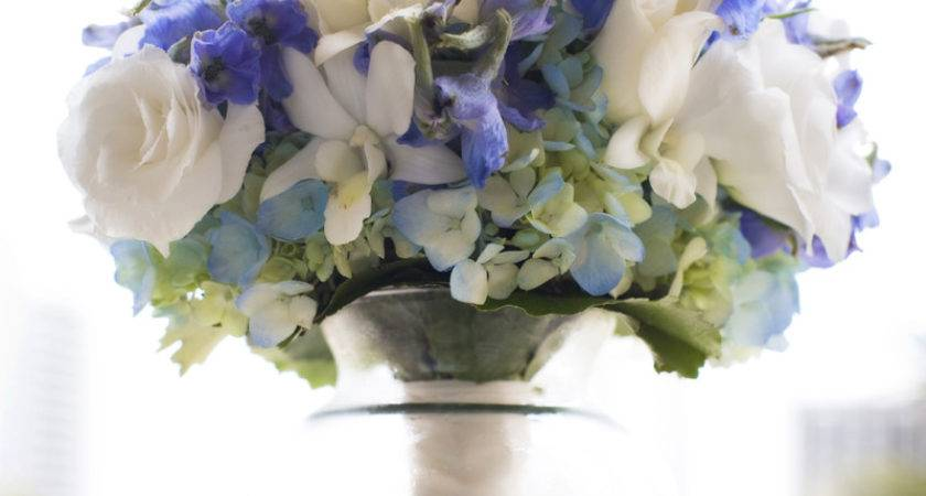 Good Blue White Centerpieces Wedding