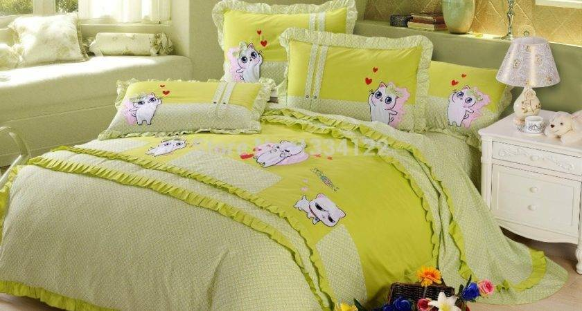 Good Quality Plant Price Lovely Cat Green Bedding Set