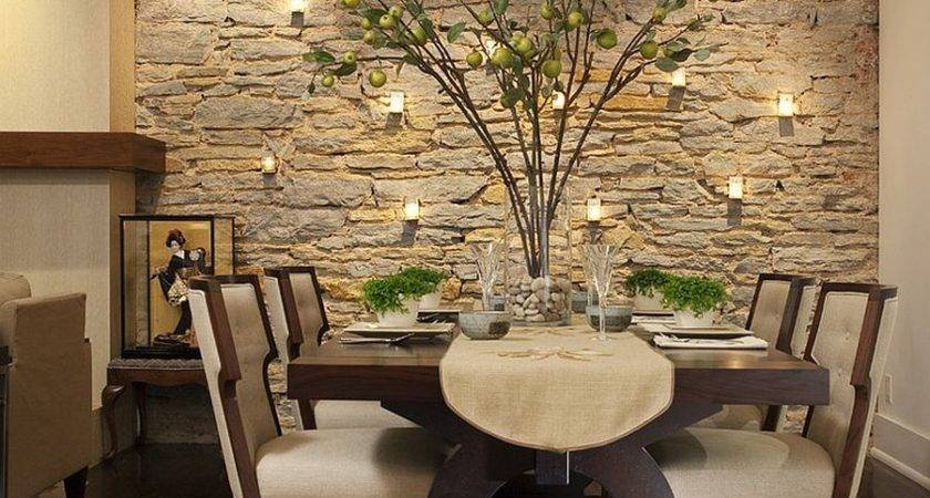 Gorgeous Dining Rooms Stone Walls