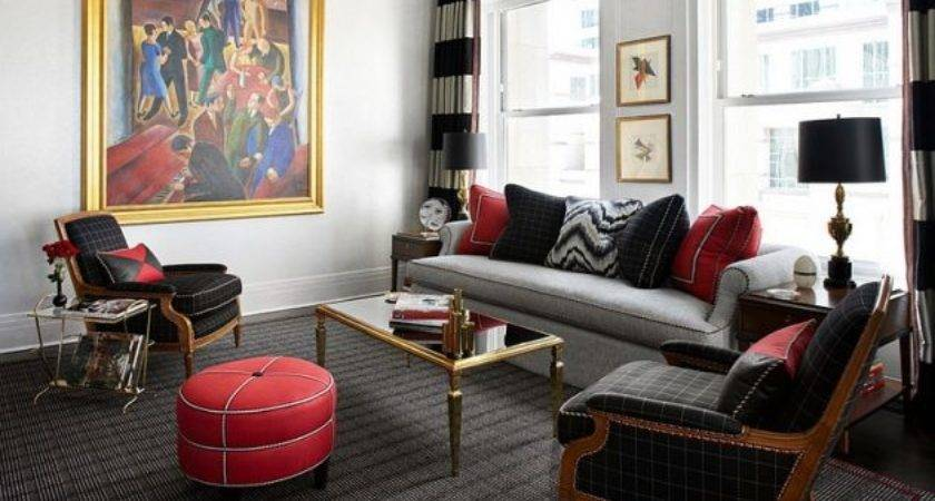Gorgeous Grey Living Rooms Red Details
