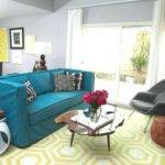 Gray Blue Yellow Living Room