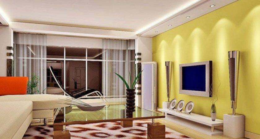 Gray Ceiling Yellow Wall Living Room Interior Design