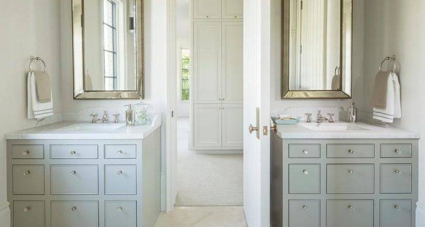Gray Cream Bathroom Apothecary Style Washstands