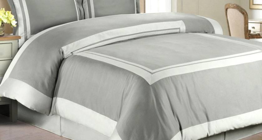 Gray Light Hotel Duvet Cover Set Wrinkle Resistant