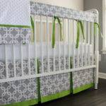 Gray Lime Green Gotcha Crib Rail Bedding Babymilanbedding