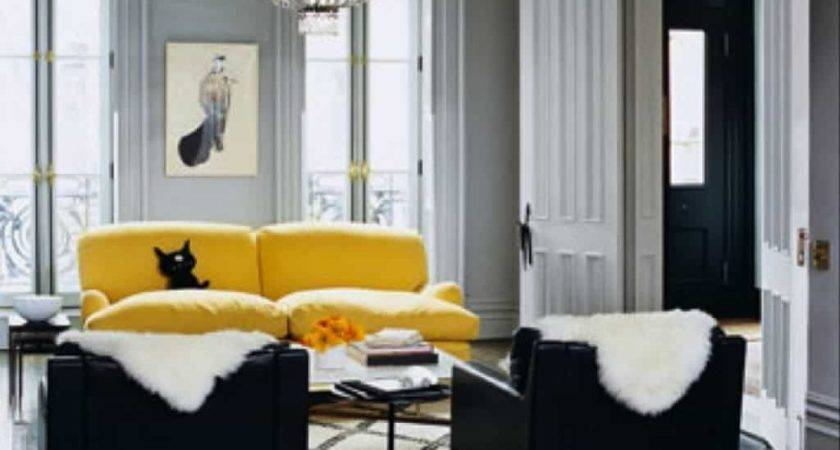 Gray Living Room Yellow Sofa Black Side Chairs