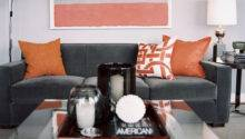 Gray Orange Living Room Decor