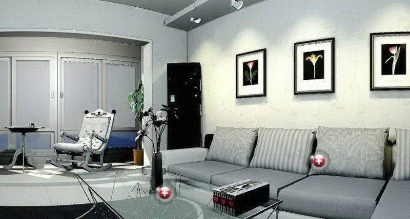 Gray Sitting Room Interior Design House