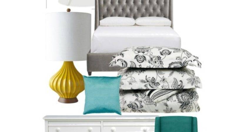 Gray Teal Yellow Bedroom Polyvore
