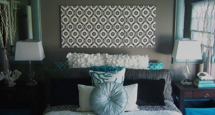 Gray Turquoise Bedroom Contemporary