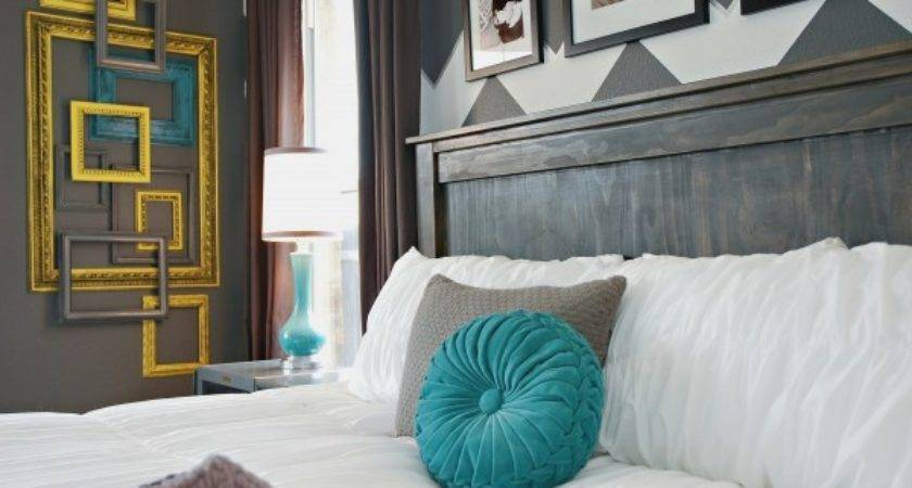 Gray White Teal Yellow Chevron Bedroom