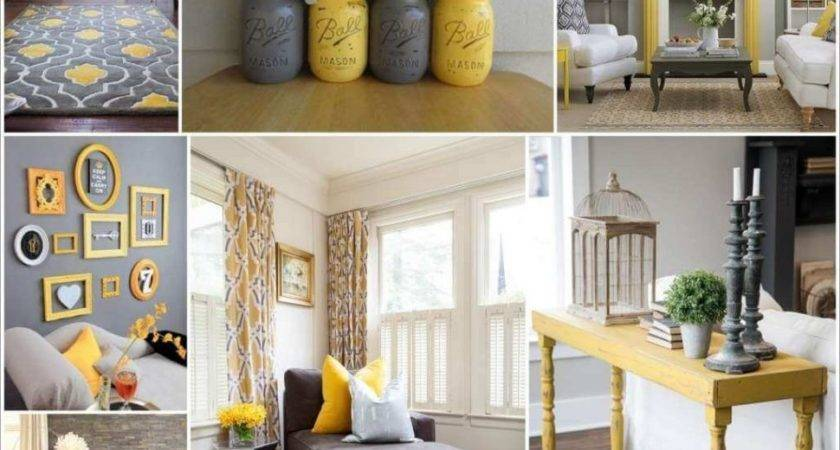 Gray Yellow Living Room Set Simple