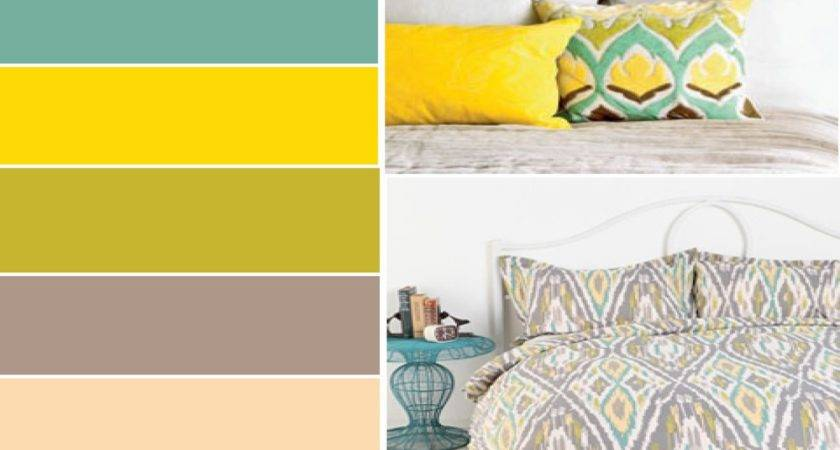 Gray Yellow Teal Bedroom