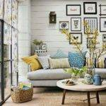 Gray Yellow Turquoise Living Room Home Rooms Modern