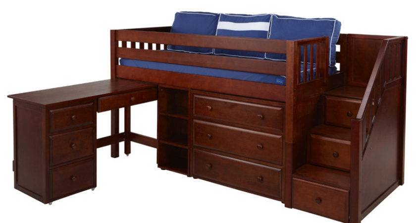 Great Low Loft Bed Dresser Bookcase Desk Staircase