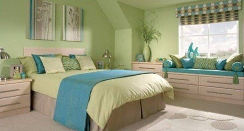 Green Bedroom Blue Accent Home Interiors