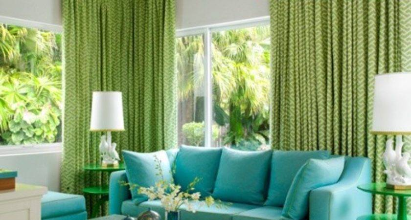 Green Curtains Aqua Blue Couch Beige Walls Style