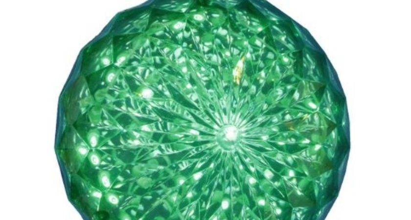 Green Led Lighted Hanging Crystal Sphere Ball Christmas