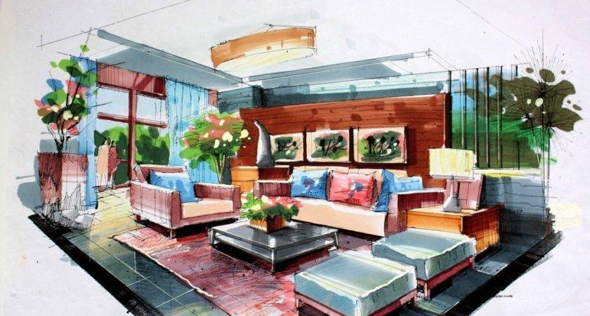 Green Living Room Interior Design Hand Drawing