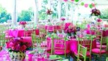 Green Pink Wedding Tables