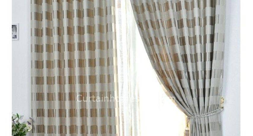 Grey Beige Curtains Teawing